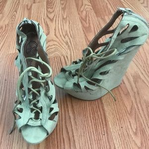 Shoes - Light Green Suede Wedges Super Cute